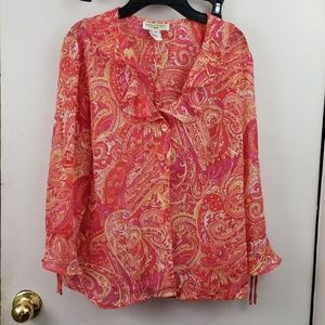 Miss Dorby Ruffled collar Paisley button down